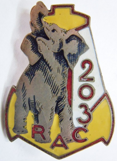 203° RAC 1939 ELEPHANT REGIMENT ARTILLERIE COLONIALE